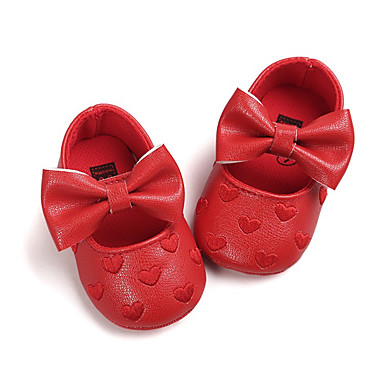 voordelige Babyschoenentjes-Meisjes Eerste schoentjes Kunstleer Platte schoenen Kinderen / Zuigelingen (0-9m) Strik / Haak & Lus Groen / Blauw / Roze Lente / Herfst / Bruiloft / Feesten & Uitgaan / Bruiloft