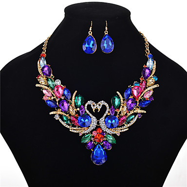 cheap Crystal Jewelry Sets-Women's Crystal Jewelry Set Necklace Earrings Pear Cut Swan Animal Rainbow Ladies Luxury Elegant Vintage Fashion Victorian Crystal Rhinestone Earrings Jewelry Rainbow For Wedding Party Daily Casual