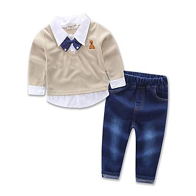 povoljno Odjeća za dječake-Dijete koje je tek prohodalo Dječaci Svečana odjeća Party Dnevno Formalan Print Dugih rukava Regularna Normalne dužine Pamuk Komplet odjeće Žutomrk