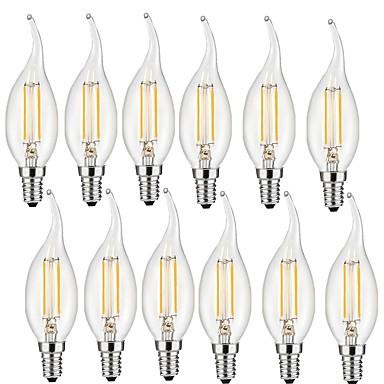 preiswerte LED Glühbirnen-12 Stück 2 W LED Glühlampen 190 lm E14 CA35 2 LED-Perlen COB Dekorativ Warmes Weiß 220-240 V / RoHs