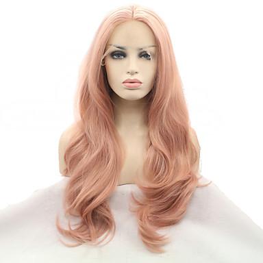 povoljno Perike i ekstenzije-Prednja perika od sintetičkog čipke Prirodne kovrče Kardashian Stil Srednji dio Lace Front Perika Crna Ružičasta Sintentička kosa 20-26 inch Žene Prirodna linija za kosu Rose Pink Perika Dug Sylvia