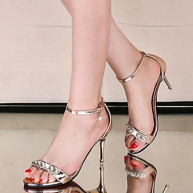 8c7b35d5a9 Feminino Sapatos Microfibra Verão Sapatos clube Sandálias Salto Agulha Dedo  Aberto Pedrarias Para Social Dourado Prata Rosa claro de 5677559 2019 por   30.99
