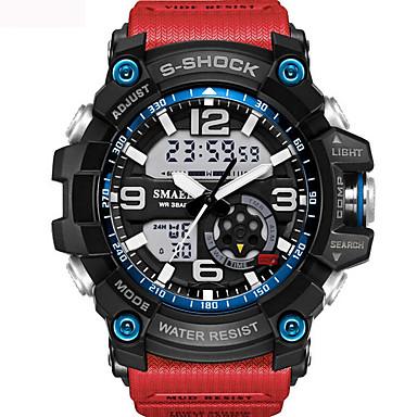 levne Pánské-Pánské Unisex Sportovní hodinky Módní hodinky Vojenské hodinky japonština Digitální Silikon Černá / Modrá / Červená 30 m Voděodolné Alarm Kalendář Analog - Digitál Khaki Černá / Modrá Černá / Stříbrná