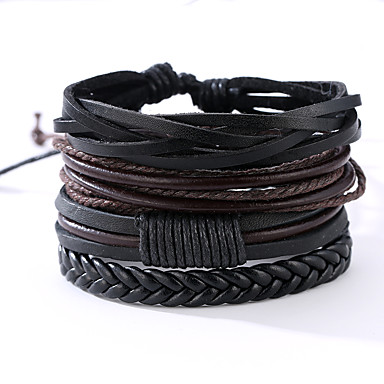 cheap Men's Bracelets-4 PCS Men's Wrap Bracelet Leather Bracelet Rope Vintage Punk Paracord Bracelet Jewelry Black / Silver Leaf / Abstract Pattern For Anniversary Gift Sports Valentine