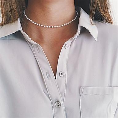 levne Dámské šperky-Dámské Sopečné sklo Obojkové náhrdelníky Jeden pruh Přizpůsobeno Základní minimalistický styl Módní Napodobenina perel Bílá Náhrdelníky Šperky Pro Párty Zvláštní příležitosti Obchod Denní Ležérn