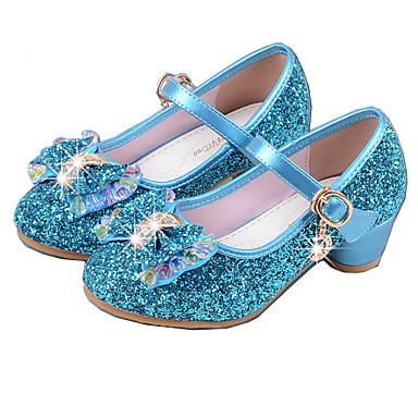 cheap Kids' Shoes-Girls' Party / Mary Jane / Basic Pump PU Heels Little Kids(4-7ys) / Big Kids(7years +) Crystal / Bowknot Pink / Blue / Silver Spring & Summer / Flower Girl Shoes / EU36