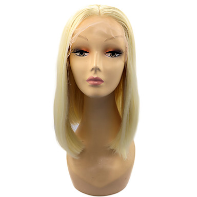 Synthetic Lace Front Wig Straight Style Bob Lace Front Wig Blonde Light Blonde Synthetic Hair Women's Middle Part Bob Blonde Wig Short