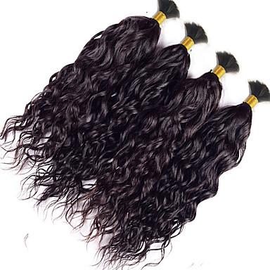 povoljno Ekstenzije od ljudske kose-4 paketića Indijska kosa Wavy Bundle kose Isprepliće ljudske kose Proširenja ljudske kose / 8A