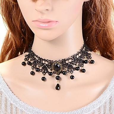 povoljno Modne ogrlice-Žene Sintetički Sapphire Moonstone Choker oglice Kruna dame Klasik Gotika Moda Imitacija bisera Čipka Crni biser Crn Ogrlice Jewelry Za Vjenčanje Party Special Occasion godišnjica Rođendan Hvala vam