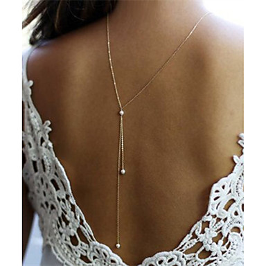 [$5 24] Women's Pendant Necklace Y Necklace Dainty Ladies Unique Design  Delicate Imitation Pearl Alloy Gold Silver Necklace Jewelry For Christmas