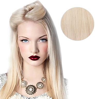 voordelige Extensions van echt haar-Clip-in Extensions van echt haar Recht Echt haar Platina Blond