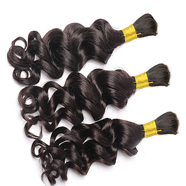 povoljno Ekstenzije od ljudske kose-3 paketa Brazilska kosa Kovrčav Duboko Val Kovrčavog tkanja Ljudska kosa Bundle kose Isprepliće ljudske kose Proširenja ljudske kose / 8A