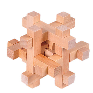 IQ Brain Teaser Kong Ming Lock Wooden Interlocking Burr 3D Puzzles Game Toy BH