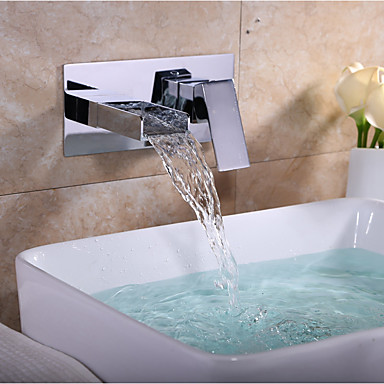 preiswerte Armaturen für das Badezimmer-Waschbecken Wasserhahn - Wasserfall Chrom Wandmontage Zwei Löcher / Einzigen Handgriff Zwei LöcherBath Taps / Messing