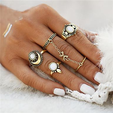 billige Motering-Dame Ring Ringer Set 5pcs Gull Sølv Syntetiske Edelstener Sinklegering Opal Rund Sirkelformet Geometrisk Form damer Uvanlig Geometrisk Julegaver Bryllup Smykker Blomst Anker