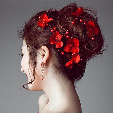 povoljno Party pokrivala za glavu-Imitacija bisera / Saten Trake za kosu / Cvijeće / Lanac glave s 1 Vjenčanje / Special Occasion / Vanjski Glava