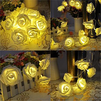 preiswerte LED-Lichter-5 meter batteriebetriebene 20 led rose blume lichterketten hochzeit zuhause geburtstag neujahr ereignis party weihnachtsdekoration warmweiß