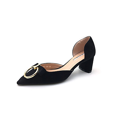 Mujer Zapatos PU Verano Confort Sandalias Tacón Cuadrado Dedo redondo Negro / Azul / Rosa YtlBKssw7q