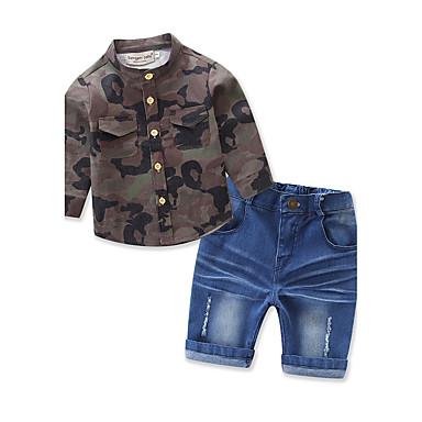 povoljno Odjeća za dječake-Dijete koje je tek prohodalo Dječaci Crtići Na prugice Dnevno Sport Plaža Print Dugih rukava Regularna Normalne dužine Pamuk Komplet odjeće Vojska Green