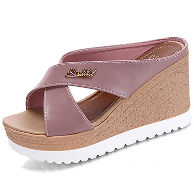 Mujer Zapatos Ante Verano Confort Zapatillas y flip-flops Tacón Plano Puntera abierta Negro / Wine yE4FH