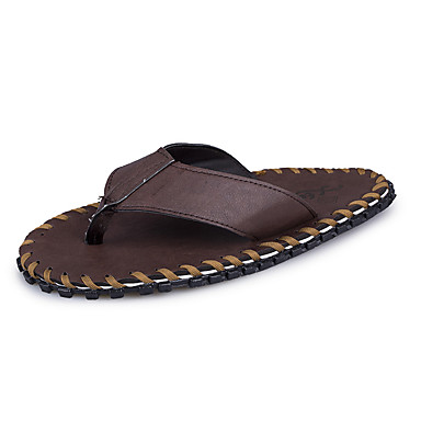 210f84c00ba Men s Slippers   Flip-Flops Light Soles PU Summer Casual Light Soles Black  Dark Brown Under 1in 5799213 2019 –  19.99