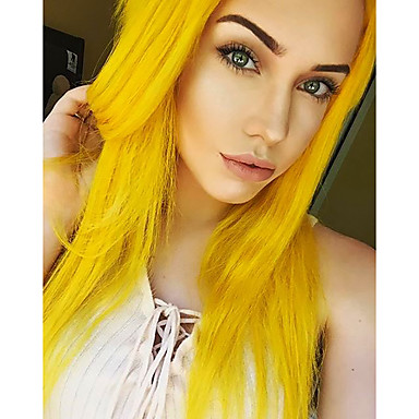 Synthetic Lace Front Wig Women's Straight Blonde Synthetic Hair Natural Hairline / Middle Part Blonde Wig Medium Length / Long Lace Front Yellow