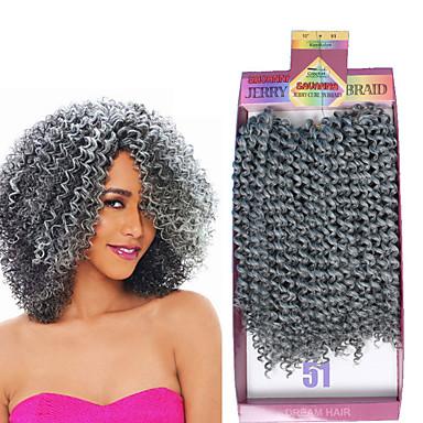 Σγουρά Εξτένσιον από Ανθρώπινη Τρίχα Ύφανση Ombre Συνθετικά μαλλιά Πλεκτά Κοντό Μαλλιά για πλεξούδες 3 τεμάχια / πακέτο