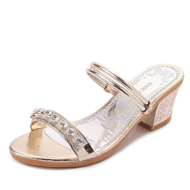 0a6f8e6311f Women s Shoes Leatherette Summer T-Strap Sandals Walking Shoes Chunky Heel  Round Toe Rhinestone for Casual Outdoor Dress Gold Silver 5804264 2019 –   17.99