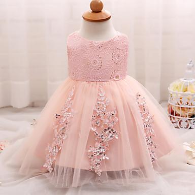 povoljno Odjeća za bebe-Dijete Djevojčice Party / Izlasci / Plaža Žakard Bez rukávů Haljina Blushing Pink