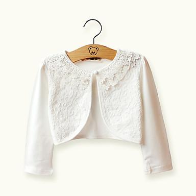 preiswerte Bis 90 % Rabatt-Kinder Mädchen Grundlegend Alltag Solide Spitze Jacquard Langarm Kurz Kurz Baumwolle Jacke & Mantel Weiß