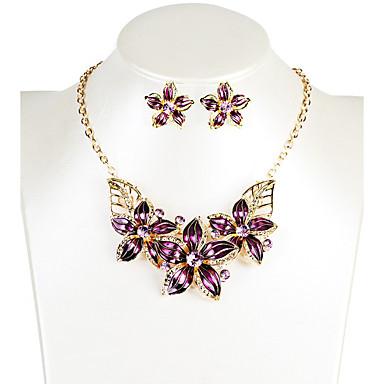 f3c761b02daa [$5.24] Mujer Collar / pendientes Moda Diario Casual Resina Legierung Flor  Pendientes Collares