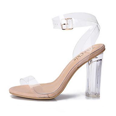 voordelige Damessandalen-Dames Sandalen Jelly Sandals Blokhak / Blok hiel Peep Toe Gesp PVC transparant Shoes Lente / Zomer Wit / Zwart / Feesten & Uitgaan / Feesten & Uitgaan / EU41