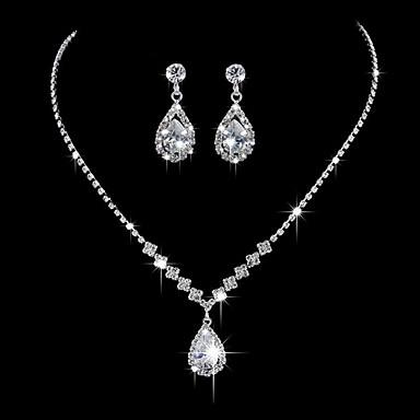 povoljno Ogrlice-Žene Ogrlice s privjeskom Osnovni Zircon Umjetno drago kamenje Glina Pink Ogrlice Jewelry Za Vjenčanje Party godišnjica Poslovanje Angažman Dnevno / Voljeni