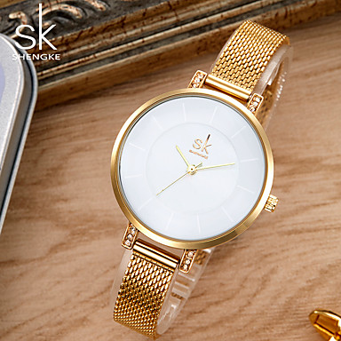 levne Dámské-SK Dámské Náramkové hodinky zlaté hodinky japonština Křemenný Kov Stříbro / Zlatá 30 m Voděodolné kreativita Odolný vůči nárazu Analogové dámy Přívěšky Luxus Vintage Na běžné nošení - Zlatá Stříbrná
