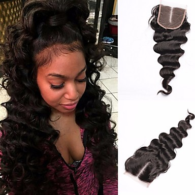 cheap Closure & Frontal-lace closure 100 human hair malaysian loose wave virgin hair natural black color free middle three part 4x4