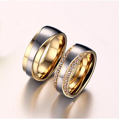 tanie Pierścionki dla par-Damskie Pierścionki dla par wirujący pierścień Pierścienie rowkowe Cyrkonia Syntetyczny diament Złota Cyrkon Stal tytanowa Pozłacany damska Ślubny Ślub Rocznica Biżuteria Miłość Przyjaźń