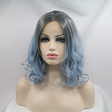 Synthetic Lace Front Wig Wavy Bob Haircut Natural Hairline Dark Roots Ombre Hair Middle Part Bob Blue Women's Lace Front Natural Wigs