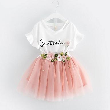 preiswerte Sommerkleidersets für Mädchen-Baby Mädchen Süß Alltag Blumen Gefaltet Kurzarm Standard Baumwolle Kleidungs Set Rosa