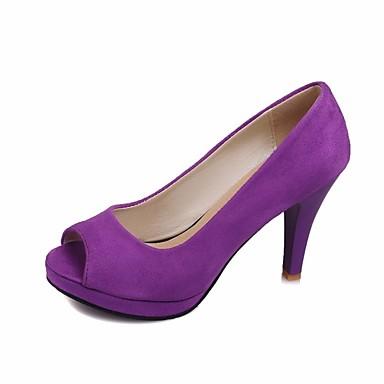 Mujer Zapatos Ante Primavera Confort Tacones Tacón Bajo Negro / Morado / Rojo 7kQE4w