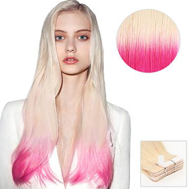 voordelige Extensions van echt haar-Tape-in Extensions van echt haar Recht Extentions van mensenhaar Echt haar Dames - Platinum Blonde / Pink