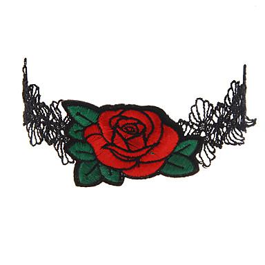 povoljno Modne ogrlice-Žene Choker oglice Logo dame Jedinstven dizajn Simple Style Double-layer Čipka Crvena Ogrlice Jewelry Za Vjenčanje godišnjica Hvala vam Angažman Cosplay nošnje