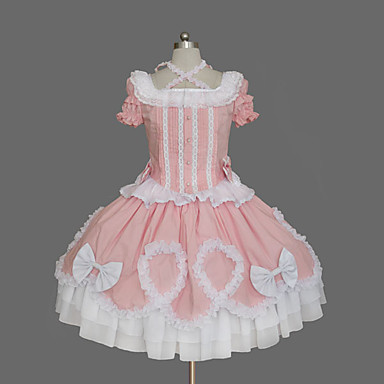 [$69.99] Princess Sweet Lolita Dress Women\'s Girls\' Cotton Japanese Cosplay  Costumes Plus Size Customized Pink Ball Gown Solid Colored Bowknot Cap ...