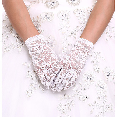 cheap Party Gloves-Spandex / Lace / Cotton Wrist Length Glove Charm / Stylish / Bridal Gloves With Embroidery / Solid
