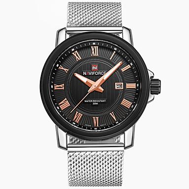 levne Pánské-NAVIFORCE Pánské Sportovní hodinky Náramkové hodinky Křemenný Nerez Stříbro Kalendář Cool Analogové Luxus Na běžné nošení Módní - Zlatá Stříbrná