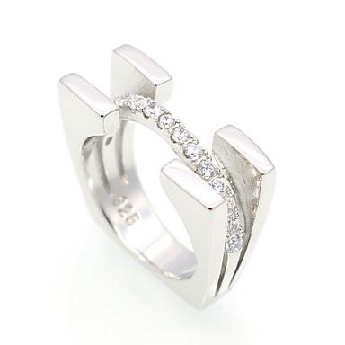 billige Motering-Herre Dame Band Ring Kubisk Zirkonium Sølv Sølv Kubisk Zirkonium Rund Sirkelformet Geometrisk Form Personalisert Luksus Geometrisk Bryllup Fest Smykker