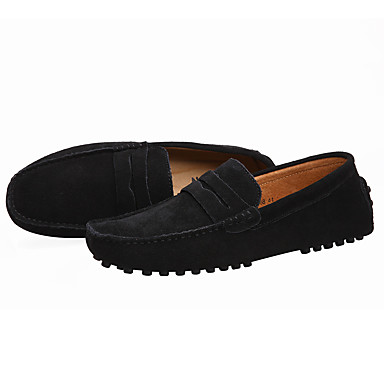 cheap Men's Slip-ons & Loafers-Men's Comfort Shoes Spring / Summer / Fall Casual Daily Outdoor Loafers & Slip-Ons Suede Non-slipping Wear Proof Black / Navy Blue / Burgundy / EU40