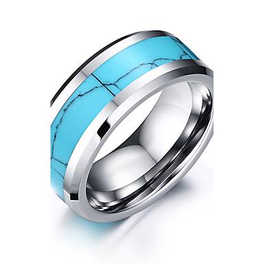 voordelige Herensieraden-Heren Ring Blauw Roestvast staal Wolfraamstaal Rond Cirkelvorm Geometrische vorm Gepersonaliseerde Standaard Eenvoudige Stijl Bruiloft Feest Sieraden Tweekleurig