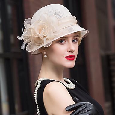 voordelige Hoeden-Vlas / Veer Kentucky Derby Hat / fascinators / hatut met 1 Bruiloft / Speciale gelegenheden  / Causaal Helm