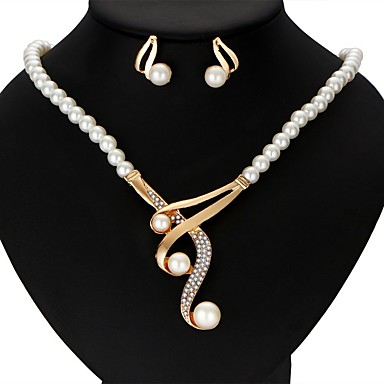 cheap Jewelry & Watches-Women's Pearl Jewelry Set Earrings Y Necklace Victorian Ladies Luxury Ribbons Elegant everyday Earrings Jewelry Gold For Wedding Party Anniversary Gift Casual Masquerade