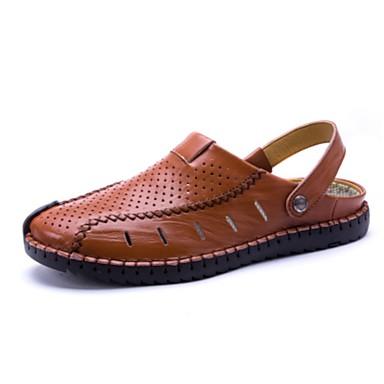 Hombre Zapatos Cuero Sintético / PU Verano Confort Sandalias Negro / Marrón Claro / Morrón Oscuro 3TRHyksKL6